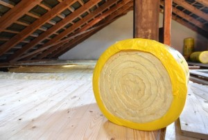 Insulation roll in an attic